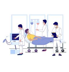 Hospital corona virus treatment flat vector