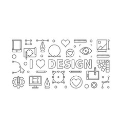 i love design concept horizontal outline vector image