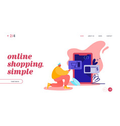 landing page with online shopping smartphone vector image