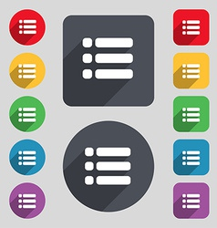 List menu Content view options icon sign A set of vector