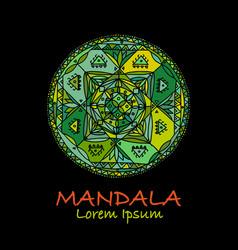 mandala ornament green pattern for your design vector image