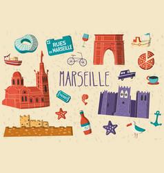 marseille city card vector image