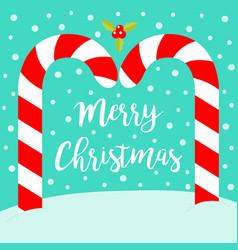merry christmas candy cane arc xmas decoration vector image