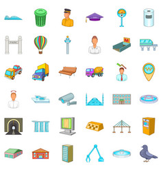 Metropolitan icons set cartoon style vector