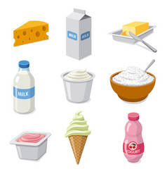 Milk products icons vector