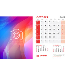 october 2019 desk calendar design template with vector image