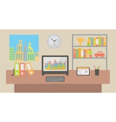 Office workspace interior flat vector