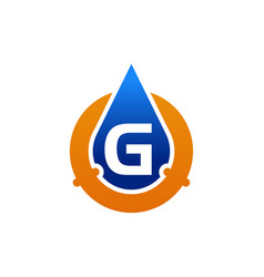 Oil water pipe solutions letter g vector