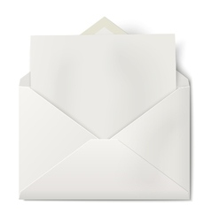 Opened envelope with sheet of paper inside vector