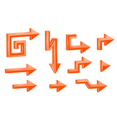 orange shaped 3d arrows vector image