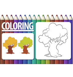page of coloring book with contour cartoon tree vector image