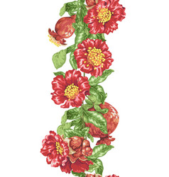 pomegranate line with blooming flowers and fruits vector image