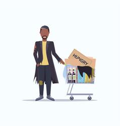 Poor man pushing trolley cart with belongings vector