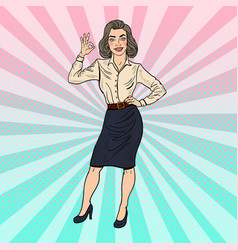 Pop art successful business woman gesturing ok vector