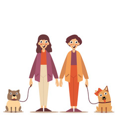 Portrait of a young couple walking their dogs on a vector