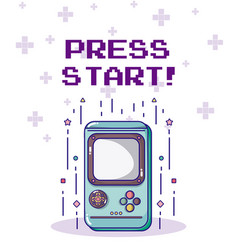 Press start retro videogame console vector