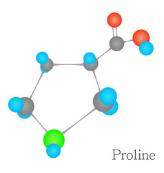 Proline 3d molecule chemical science vector