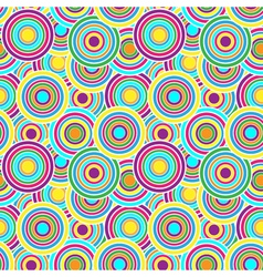 Purple yellow and green circles seamless pattern vector