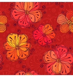 Red doodle flowers seamless pattern vector image vector image