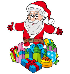 Santa claus with pile of gifts vector