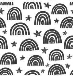 scandinavian rainbows seamless pattern black and vector image