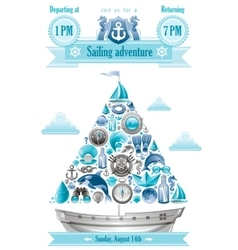 Sea summer travel banner invitation design with vector image