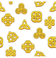 seamless pattern celtic symbols golden celtic vector image