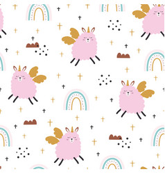 seamless pattern with cute sheep unicorn vector image