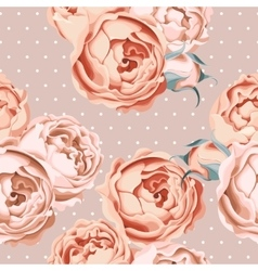 Seamless peony roses and polka dot vector