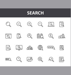Set 24 search web icons in line style seo vector
