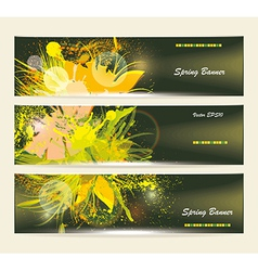 Set of horizontal banners with flowers vector image