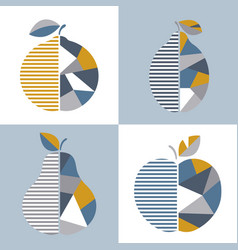 Set of modern geometric fruit design vector