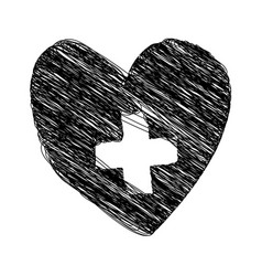 Silhouette drawing heart with cross inside vector