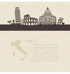 silhouettes famous landmarks in italy vector image