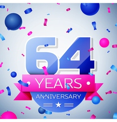 Sixty four years anniversary celebration on grey vector