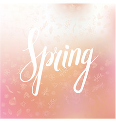 spring wording with floral elements vector image