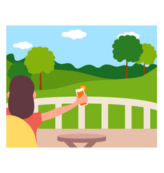 staycation at home balcony flat design style vector image