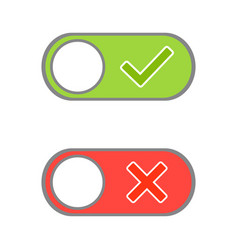 toggle button switch off or turn on slider with vector image