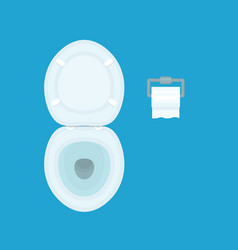 toilet bowl with paper cartoon top view vector image