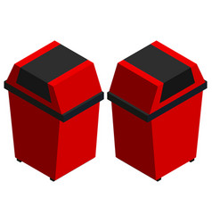 trashcans in red from two different angles vector image