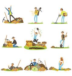 Treasure hunting people in search of treasure vector