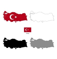 Turkey country black silhouette and with flag on vector image