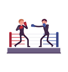 two young businessmen are boxing competing for vector image