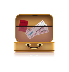 vintage suitcase with passport and airtickets vector image