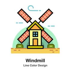 Windmill line color icon vector