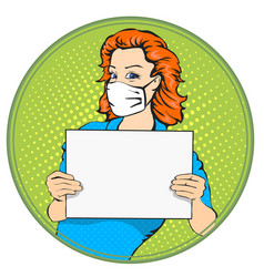 woman with medical mask holding a poster vector image