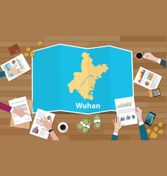 Wuhan hubei china city region economy growth with vector