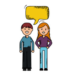 Young couple with speech bubbles avatars vector