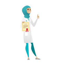 Young muslim doctor holding certificate vector