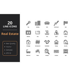 20 thin line real estate icons vector image
